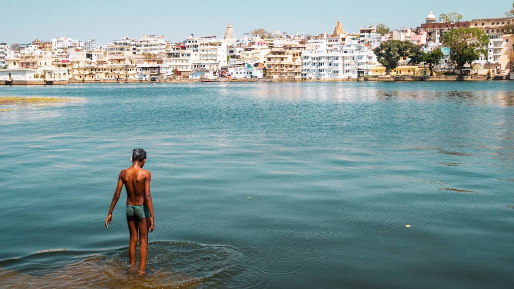 Boy Swimming at Ambrai Ghat Udaipur