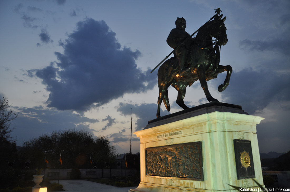 Moti Magri Maharana Pratap Statue at Night